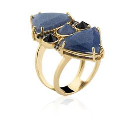 Anel pedra sodalita azul e onix