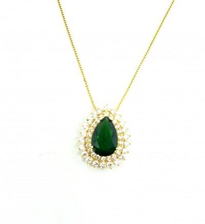 Colar Gota Esmeralda verde