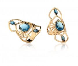 Anel cristal montana azul