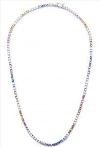Colar Riviera Colorida Rainbow PRATA - 45cm